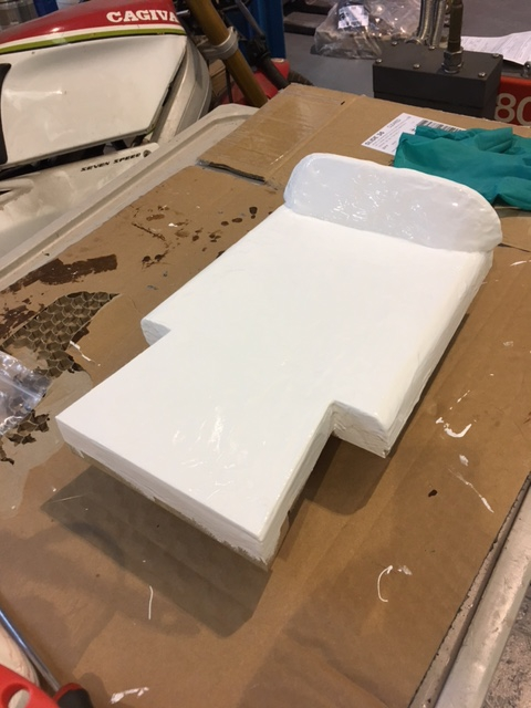 Plug complete, start of the mould making process, gel coat first