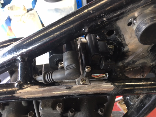 Compact ignition coils on custom made bracket