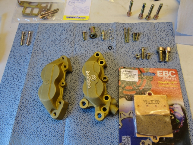 Brembo P4 Gold 4 piston caliper restored and ready for reassembly